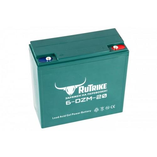 Тяговый гелевый аккумулятор RuTrike 6-DZM-20 (12V20A/H C2)