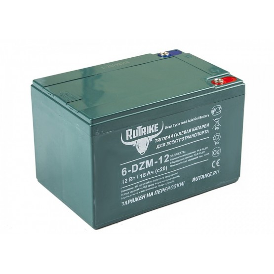Тяговый гелевый аккумулятор RuTrike 6-DZM-12 (12V12A/H C2)